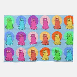 sweet kitties multiple color tint funny cartoon kitchen towel