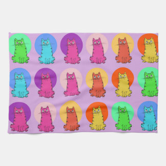 sweet kitties multiple color tint funny cartoon kitchen towel