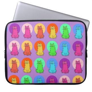 sweet kitties multiple color tint funny cartoon laptop computer sleeve