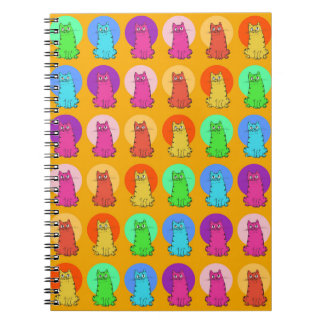 sweet kitties multiple color tint funny cartoon notebook