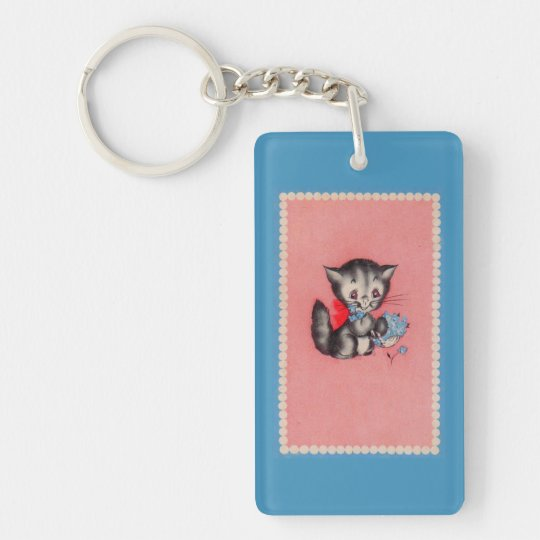 sweet kitty cat Double-Sided rectangular acrylic keychain