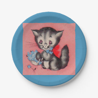 sweet kitty cat paper plate