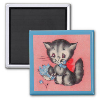 sweet kitty cat square magnet