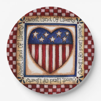 Sweet Land of Liberty Stars & Stripes Paper Plate 9 Inch Paper Plate