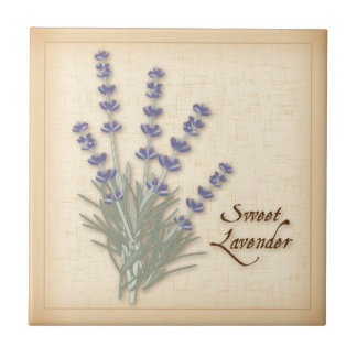 Sweet Lavender Herb and Flowers Tile