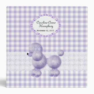 Sweet Lavender Poodle Checkered Custom Baby Album Vinyl Binders