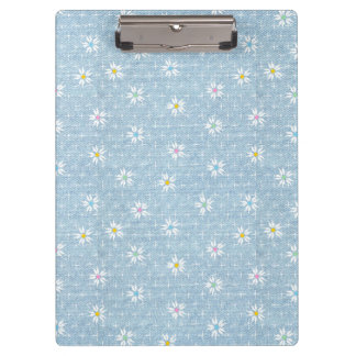 Sweet light blue faded denim floral clipboard