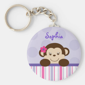 Sweet Lil Girl Monkey Personalized Key Chain