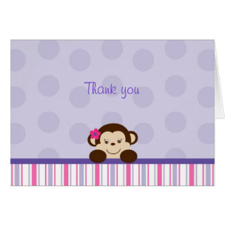 Sweet Lil Girl Monkey Thank You Note Cards