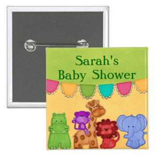 Sweet Lil Jungle Animals Safari Baby Shower 2 Inch Square Button