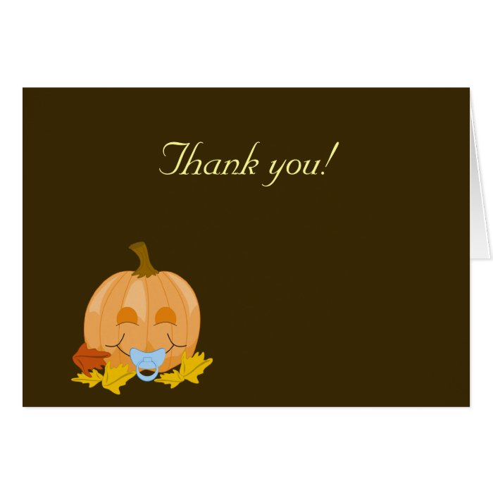 Sweet Lil Pumpkins Pacifier Thank you Note Cards
