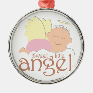 Sweet little angel logo Silver-Colored round ornament
