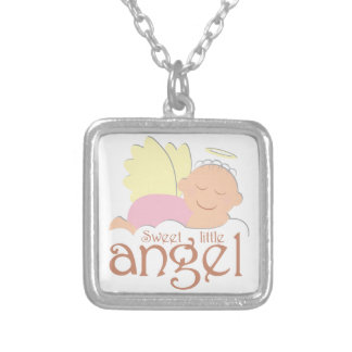 Sweet little angel logo silver plated necklace