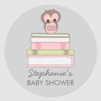Sweet Little Baby Book Girl Owl Favor Sticker