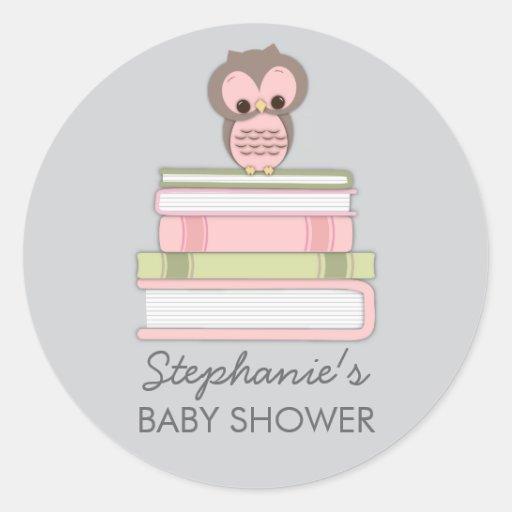 Sweet Little Baby Book Girl Owl Favor Sticker
