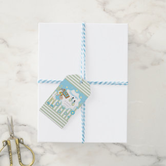 Sweet Little Baby Boy and Stork Thank You Gift Tags