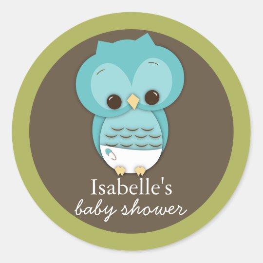 Sweet Little Baby Boy Owl Favour Sticker