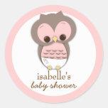 Sweet Little Baby Girl Owl Favour Sticker