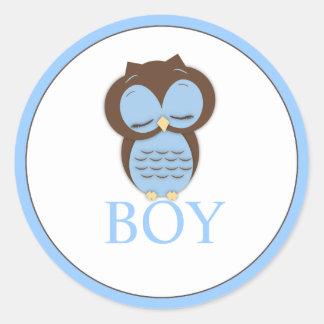 Sweet Little Boy Owl Gender Reveal Team BOY Classic Round Sticker