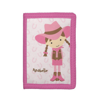 Sweet Little Brunette Cowgirl Trifold Wallet
