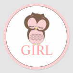 Sweet Little Girl Owl Gender Reveal Team GIRL Stickers