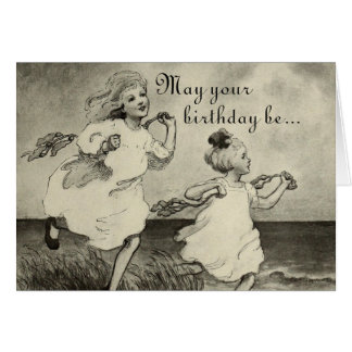 Sweet Little Girls Beach Ocean Happy Birthday Card