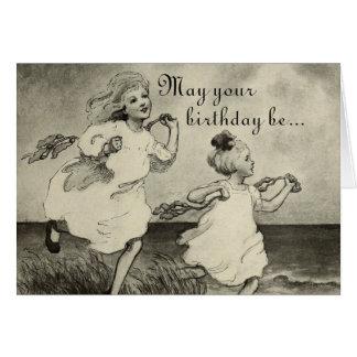 Sweet Little Girls Beach Ocean Happy Birthday Card