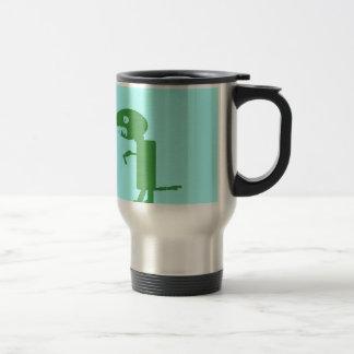 Sweet little green dino, digital art by kids :) travel mug