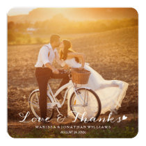 """Sweet Little Heart Wedding Thank You Flat Card 5.25"""" Square Invitation Card"""