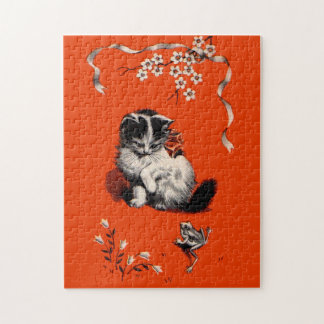 sweet little kitten and frog jigsaw puzzle