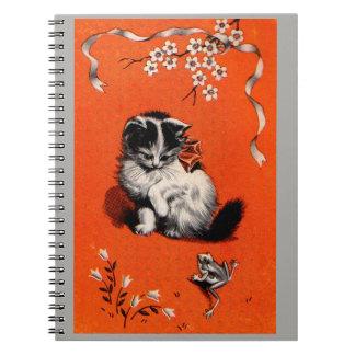 sweet little kitten and frog notebook