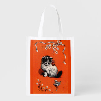 sweet little kitten and frog print reusable grocery bag