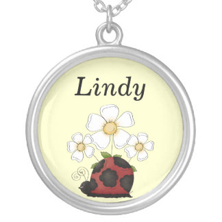 Sweet Little Ladybug Round Name Pendant Silver