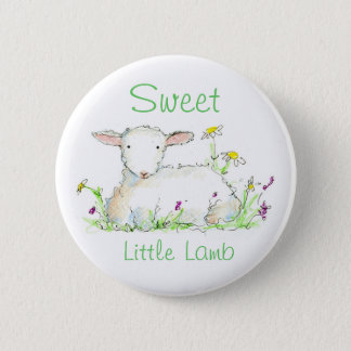 Sweet Little Lamb Farm Animal Sheep Illustration 2 Inch Round Button