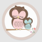Sweet Little Mama & Baby Owl on a Branch Classic Round Sticker