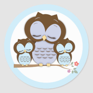 Sweet Little Mama & Twin Baby Owls on a Branch Round Sticker