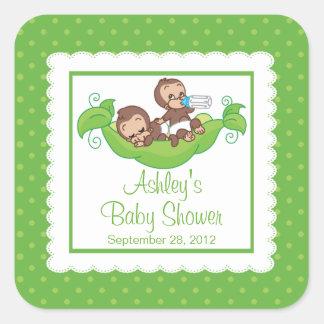 Sweet Little Monkey Twins Baby Shower Sticker