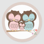 Sweet Little Owl Family on a Branch Round Stickers