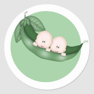 Sweet Little Pea Twins Classic Round Sticker