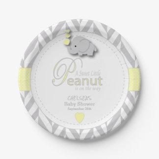 Sweet Little Peanut Elephant Baby Shower Paper Plate