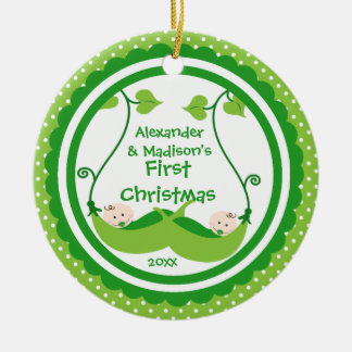 Sweet Little Peas Twin's First Christmas Ornament