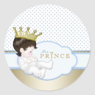 Sweet Little Prince Baby Shower Classic Round Sticker