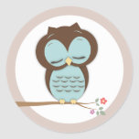 Sweet Little Sleepy Boy Owl on a Branch Round Sticker