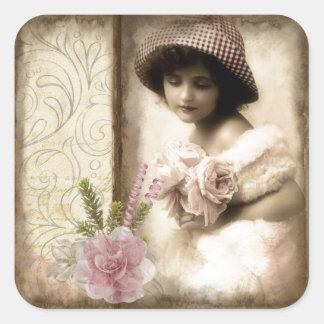 Sweet Little Vintage Girl Square Sticker
