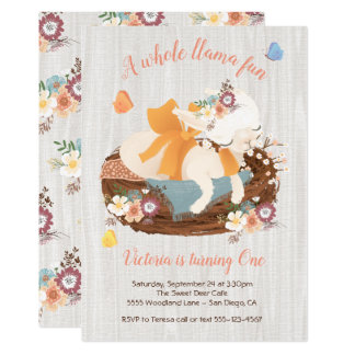 Sweet llama Birthday Party Invitations