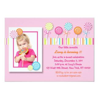 Sweet Lollipop Candy Birthday Invitations