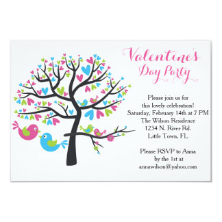 "Sweet Love Birds Valentine's Day Party 3.5"" X 5"" Invitation Card"