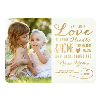 Sweet Love Gold Type Holiday Photo Card