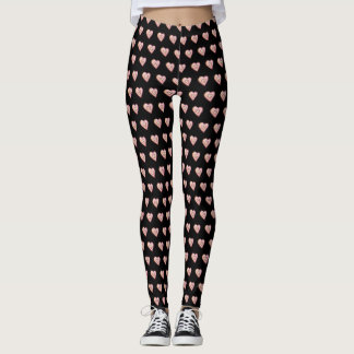 Sweet Love Pink Hearts Festive Holiday Leggings