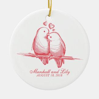 Sweet Lovebirds Valentine Wedding | Ornament